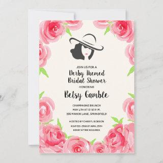 Rose Watercolor Derby Bridal Shower Invitations