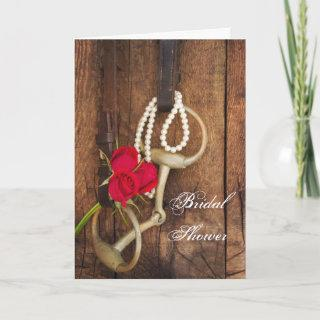 Roses and Horse Bit Country Western Bridal Shower Invitations
