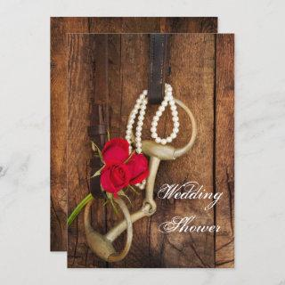 Roses and Horse Bit Country Western Wedding Shower Invitation