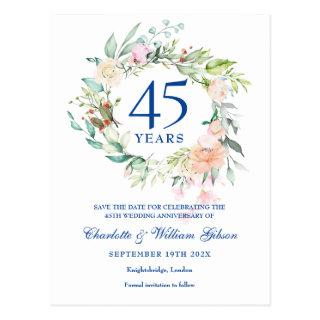 Roses Garland 45th 65th Anniversary Save the Date Postcard