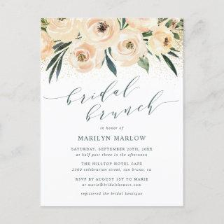 Roses & Gold Glitter Script Bridal Shower Brunch Invitation Postcard