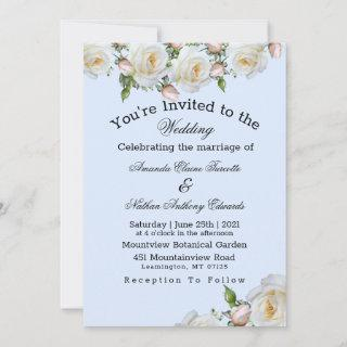 Roses White Pink Greenery Wedding Invitations