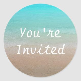 Round Ocean and Beach You're Invited Sticker