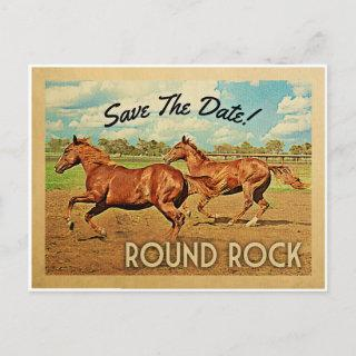 Round Rock Texas Save The Date Horses Announcement Postcard
