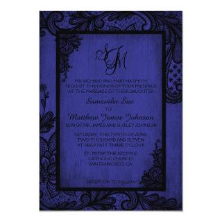 Royal Black Lace Gothic Wedding Invitations Card