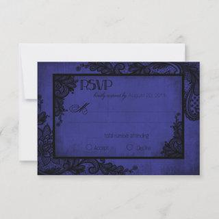 Royal Blue and Black Lace Gothic RSVP Card