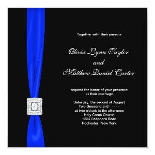 Royal Blue and Black Wedding Invitations