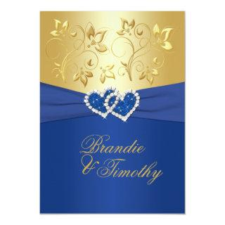 Royal Blue and Gold Floral Wedding Invitations