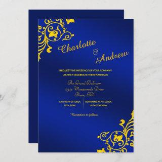 Royal Blue and Golden Yellow Floral Wedding Invitations