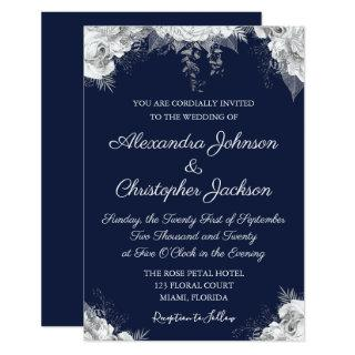 Royal Blue and Pearl White Floral Wedding Invitation