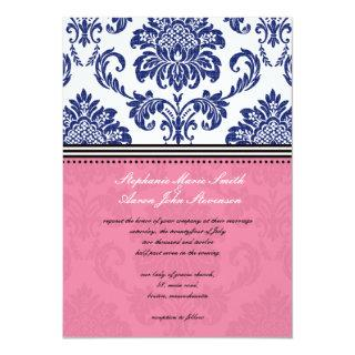 Royal Blue and Pink Damask Wedding Invitation