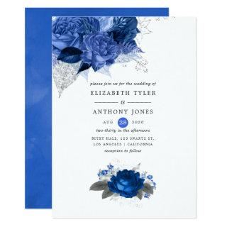 Royal Blue and Silver Floral Wedding Invitation