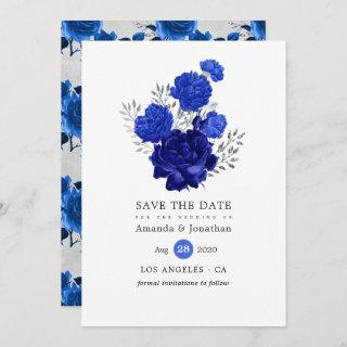 Royal Blue and Silver Floral Wedding Save The Date
