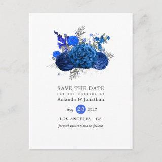 Royal Blue and Silver Floral Wedding Save the Date Announcement Postcard