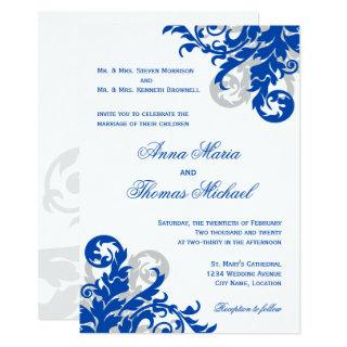Royal Blue and Silver Flourish Wedding Invitations