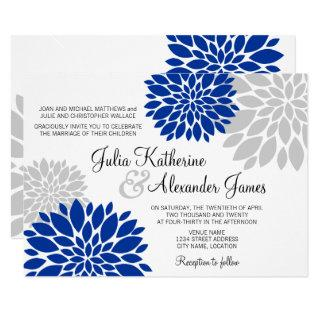 Royal Blue and Silver-Gray Floral Burst Wedding Invitations