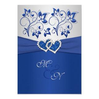 Royal Blue and Silver Joined Hearts Invitation
