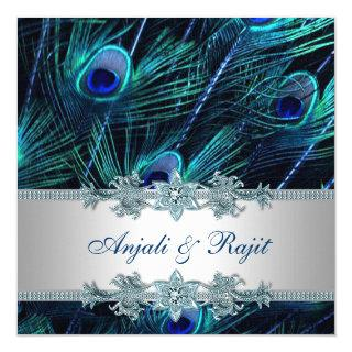 Royal Blue and Silver Royal Blue Peacock Wedding Invitations