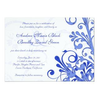 Royal Blue and White Floral Wedding Invitation