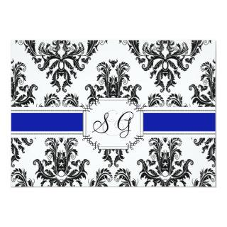 Royal Blue Antique Elegant Wedding Invitation