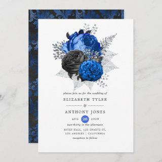 Royal Blue, Black and Silver Floral Wedding