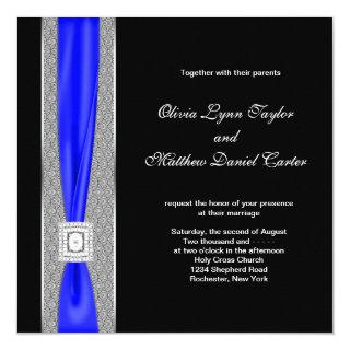 Royal Blue Black Blue Bow Wedding Invitation