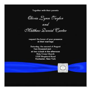 Royal Blue Black Blue Wedding Invitations