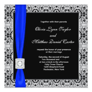 Royal Blue Black Lace Wedding Invitation