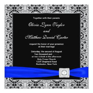 Royal Blue Black Silver Lace Wedding Invitations