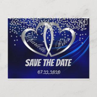 Royal Blue Diamonds & Hearts Save The Date Card