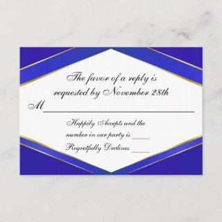 Royal Blue Elegance Monogram Response Card