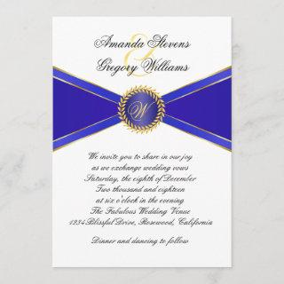 Royal Blue Elegance Monogram Wedding Invitation