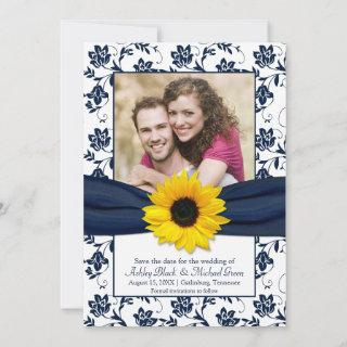 Royal Blue Floral Damask Sunflower Save the Date