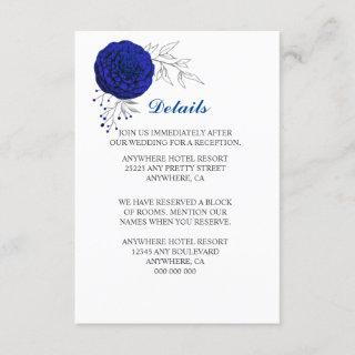 royal blue flowers silver leaves details enclosure card