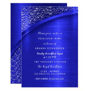 Royal Blue Glitter Bridal Shower Birthday Invitations