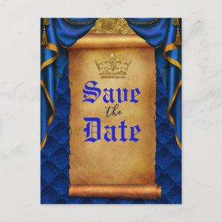 Royal Blue Gold Drapes Scroll Wedding Save Date Announcement Postcard