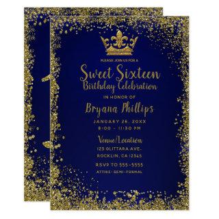 Royal Blue & Gold Glitter Crown Sweet 16 Party Invitations