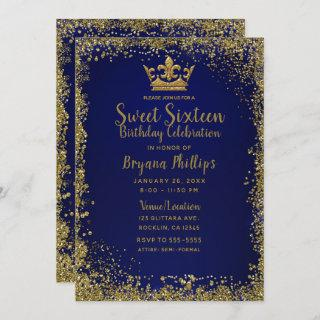 Royal Blue & Gold Glitter Crown Sweet 16 Party Invitation