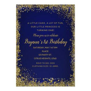 Royal Blue & Gold Glitter Glam 1ST Birthday Party Invitation