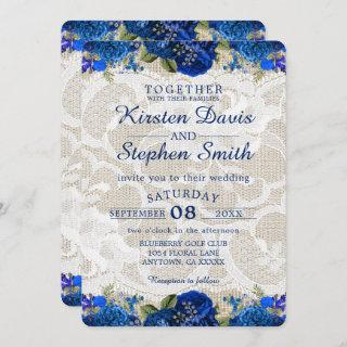 Royal Blue Gold Navy Floral Lace Rustic Wedding Invitations