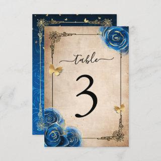 Royal Blue Gold Roses Table Number Cards