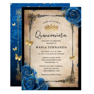 Royal Blue Gold Watercolor Elegant Quinceanera Invitations
