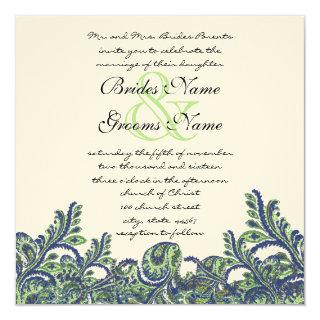 Royal Blue & Green Paisley Peacock Wedding Invite
