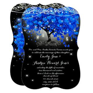Royal Blue Heart Leaf Tree Mason Jar on Black Invitations