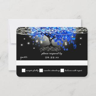 Royal Blue Heart Leaf Tree Mason Jar on Black RSVP Card