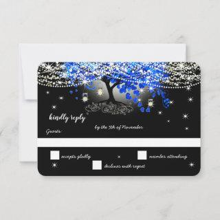 Royal Blue Heart Leaf Tree on Black Wedding RSVP Card