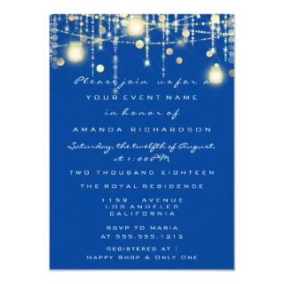 Royal Blue Lights Jar Red Wine Bridal Wedding Invitations