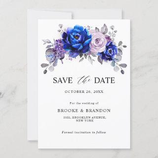 Royal Blue Lilac Purple Floral Save The Date
