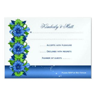 Royal Blue Lime Green Floral RSVP Invitations