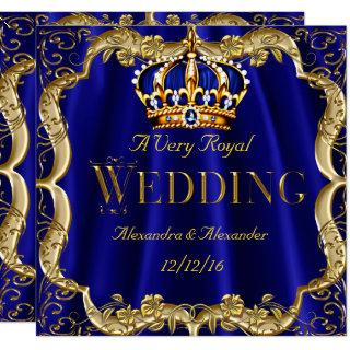 Royal Blue Navy Wedding Gold Crown 2 Invitation